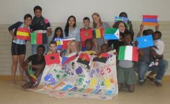 Volunteers and young people at a summer project in an asylum centre in Belgium summer 2013