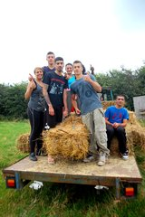 Young people volunteering on the Cloughjordan Community Farm during the Connecting Communities Youth Exchange