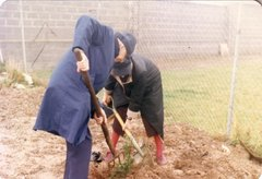 Conrad and Dorothea Leser planting trees at a centre in Waterford 1990