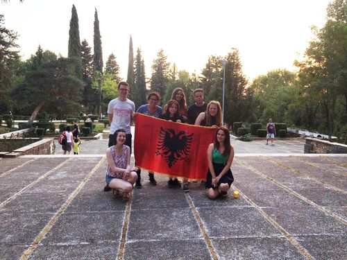 Shane Caoimhin and Deirdre group photo in Tirana.JPG
